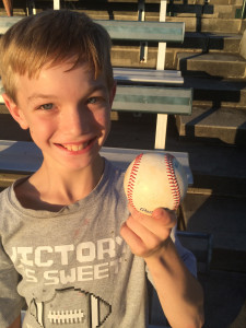 Parker and his freshly retrieved foul ball.