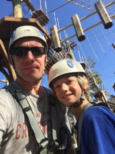 Parker and me before our climb. The Tarzan ropes are over his left shoulder.